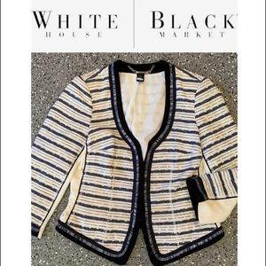 White House Black Market Tweed fringe blazer